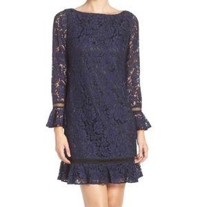 Eliza J navy lace & ruffle cocktail dress